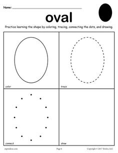FREE printable oval worksheet. This oval coloring page and tracing worksheet is perfect for both toddlers and preschoolers. Includes an oval plus 11 other shapes worksheets. Get all twelve shape coloring pages and tracing worksheets here --> http://www.mpmschoolsupplies.com/ideas/7557/12-free-shapes-worksheets-color-trace-connect-draw/