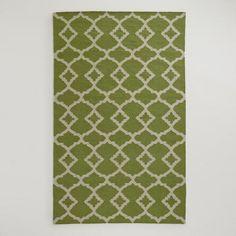 Green Ivory Lattice Flat-Woven Wool Rug