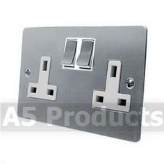 13 Amp Wall Plug Socket Double 2 Gang in Brushed Satin Matt Chrome Flat Style | eBay Wall Plug, Fashion Flats, Plugs, Wallet, Best Deals, Accessories, Satin, Amp, Bedroom