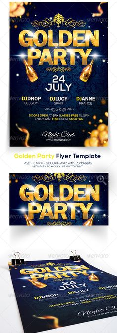 Golden Party Flyer — Photoshop PSD #vip flyer #shine • Available here → https://graphicriver.net/item/golden-party-flyer/7640458?ref=pxcr