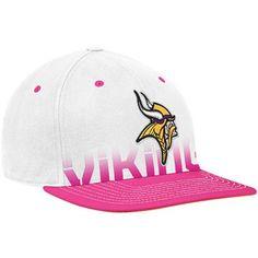 1fa04c48d6e Minnesota Vikings White-Pink Breast Cancer Awareness Flat Brim Flex Hat  Flat Bill Hats