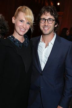 January Jones and Josh Groban pose as Jerry and Linda Bruckheimer and the Princess Grace Foundation welcome HSH Prince Albert II and HSH Princess Charlene of Monaco to an exclusive Crown Celebration in Beverly Hills, California on Monday, October 7, 2014