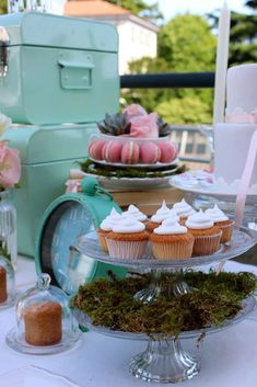 Treats at a pretty baptism party! See more party ideas at CatchMyParty.com!