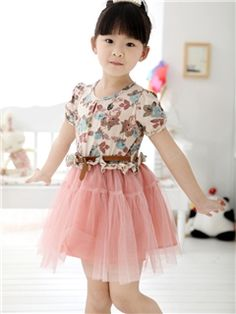 Ericdress Brown Print Patchwork Girl's Lace Dress