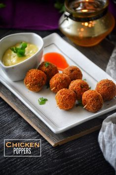 Chicken Poppers with Honey Mustard Dipping sauce – Savory&SweetFood Chicken Poppers, Chicken Balls, Easy Iftar Recipes, Healthy Recipes, Tofu Recipes, Easy Ramadan Recipes, Chicken Lolipop Recipe, Chicken Lollipops, Sauces