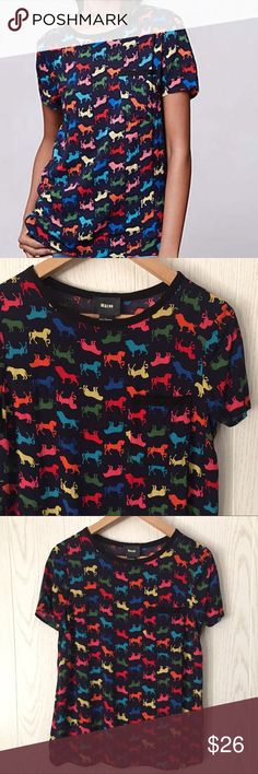 """Maeve Anthropologie Animal Print Shirt Blouse Made of 100% Rayon + chest pocket • oversized like a blouse but designed like a t-shirt • soft and fun!     18.5"""" bust • 25"""" length • excellent condition! Anthropologie Tops"""