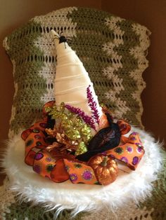 White Witch Hat With Orange Purple and Green by BewitchedHats, $79.99