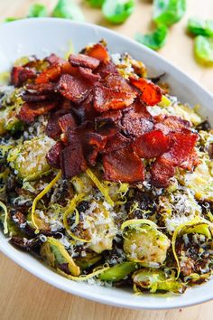 Parmesan Roasted Brussels Sprouts with Double Smoked Bacon. repinned by @LaVieAnnRose