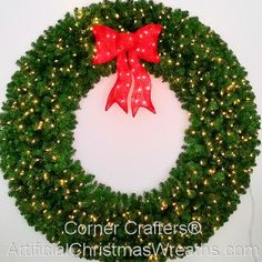 6 Foot inch) L. Christmas Wreath with Pre-lit Red Bow Battery Operated Christmas Wreath, Pre Lit Christmas Garland, Large Christmas Wreath, Christmas Wreaths With Lights, Christmas Tree Napkins, Artificial Christmas Wreaths, Christmas Greenery, Christmas Fun, Holiday Fun