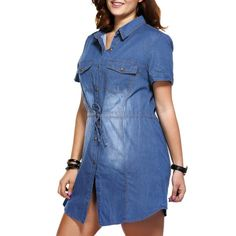 Buy brief plus size pocket design tie front women's denim dress in denim blue 4xl for $26.17 from Trendsgal.com.