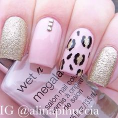 Pink gold glitter and leopard nails Beautiful Nail Designs, Cute Nail Designs, Acrylic Nail Designs, Acrylic Nails, Pink Acrylics, Love Nails, Fun Nails, Pretty Nails, Leopard Print Nails