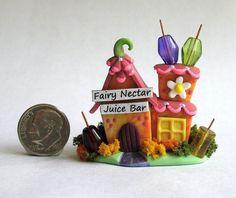 Handmade Miniature WHIMSICAL FAIRY NECTAR JUICE BAR - OOAK - by C. Rohal #CRohal