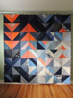 Quilt for my brother - Finished! I finished this quilt for my brother up the other day, in time to bring it to LA to him when I head out for Quiltcon! I'm supposed to have already left for California, but unfortunately our flights have been cancelled...