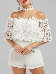 Silva Off The Shoulder Floral Lace Panel Romper Cheap Clothes, Clothes For Women, Cute Dresses, Prom Dresses, Spring Dresses, Vintage Dresses, Bridesmaid Dresses, Summer Outfits, Cute Outfits