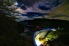 The night view of Amagase Arch Dam, Uji City, Kyoto, Japan by Shibazo, via Flickr
