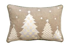 Christmas linen pillow cover, christmas trees, Indian brocade applique, embroidered pillow size : Pillows On Sale Motifs Applique Laine, Wool Applique Patterns, Applique Pillows, Patchwork Pillow, Embroidered Pillows, Christmas Cushions, Christmas Pillow Covers, Christmas Fabric, Christmas Cover