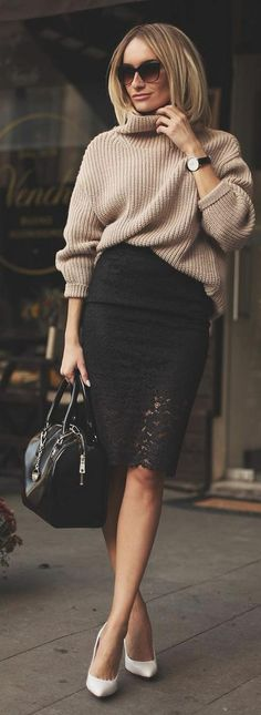 Outfits con faldas negras de encaje