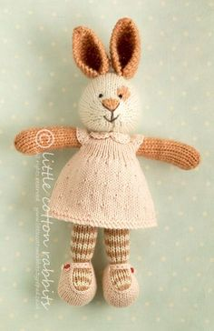 little cotton rabbits shop: Blandine Knitted Stuffed Animals, Knitted Bunnies, Knitted Animals, Knitted Dolls, Knitting For Kids, Knitting Projects, Baby Knitting, Knitting Toys, Knit Or Crochet
