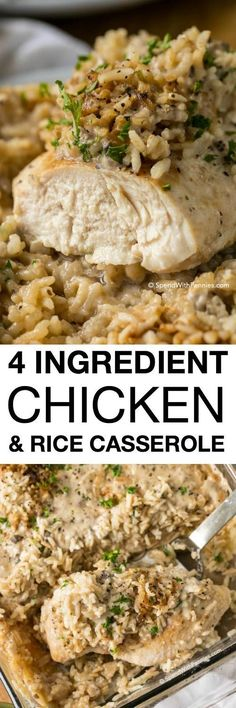 Chicken Rice Casserole makes for a crowd-pleasing dinner that comes together in under 5 minutes of prep time. Made with only 4 ingredients, this meal packs a lot of flavor in a filling one dish dinner (Easy Meal For Supper) Casserole Dishes, Casserole Recipes, Casseroles With Rice, Quick Casseroles, Food Dishes, Main Dishes, One Dish Dinners, Rice Dinners, Cheap Dinners