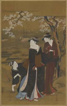 Sea-shore: three girls under a flowering cherry tree  TYPE Hanging scroll (mounted on panel) MAKER(S) Artist: Utagawa Toyokuni I 歌川豊国 (1769-1825)