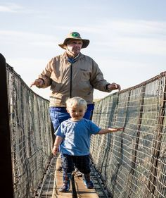 Eric Dunstone, one of the owners of Lake Eland and his grandson Rourke inspecting the lookout points on Lake Eland! #LiveLoveLakeEland #family