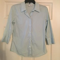 Calvin Klein 3/4 Sleeve Blouse Super cute blue and white striped button down blouse with 3/4 sleeves!!  Looks great with jeans or slacks!! Calvin Klein Tops Blouses