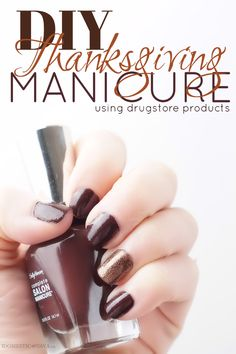 DIY Thanksgiving Fall Manicure using drugstore products.  The perfect complimenting nail polish hues of dark, rich brown and sparkling bronze shade with flecks of gold and red glitter on the accent nail.