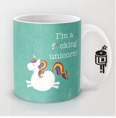 Unicorn Rainbow MATURE Coffee mug Unicorn Artwork by Lucy Dynamite