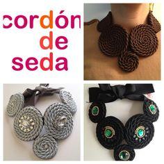 Cordon de Seda Ribbon Necklace, Rope Necklace, Fabric Necklace, Collar Necklace, Crochet Necklace, Rope Jewelry, Macrame Jewelry, Trendy Jewelry, Jewelry Crafts