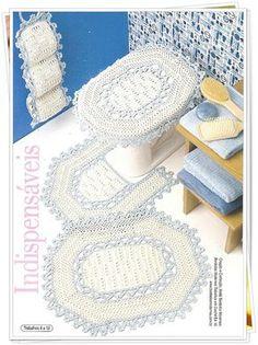 Crochet bathroom set ❤️LCB-MRS ❤️ with diagrams. --- B I G a r t e s . c o m: INDISPENSÁVEIS - JOGO DE BANHEIRO EM CROCHÊ COM LINHA.