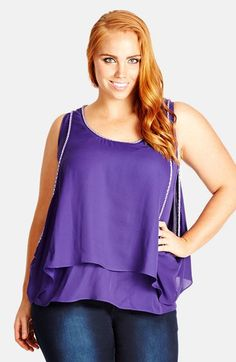 City Chic Beaded Crop Overlay Tank (Plus Size) available at #Nordstrom