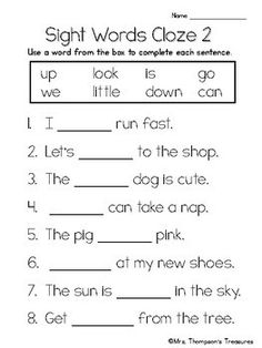 Simple sight word practice or assessment ready to use! Beginning readers can listen to the sentences be read and fill in the appropriate sight word in the blank. Includes 10 different pages, using words from pre-primer and primer lists. 1st Grade Reading Worksheets, Kindergarten Writing Activities, First Grade Reading Comprehension, Sight Word Worksheets, English Worksheets For Kids, Phonics Worksheets, Rhyming Words, Spelling Words, Sight Words