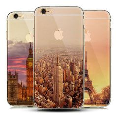 Cool Semi -Transparent Clear TPU Skin Phone Case Cover For iPhone 5 5S 6 6s fundas New York City Empire Building Effiel Tower