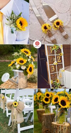 Inspirational Sunflower Wedding Ideas for chic and bright, sunfl. Inspirational Sunflower Wedding Ideas for chic and bright, sunflowers are widely recognized among brides. Fall Sunflower Weddings, Sunflower Wedding Decorations, Sunflower Centerpieces, Sunflower Party, Wedding Flowers, Wedding Arches, Sunflower Wedding Bouquets, Wedding Ideas With Sunflowers, Sunflower Wedding Cupcakes