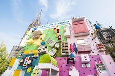 Ikea crée un véritable appartement de 100m2 à la vertical en guise de mur d'escalade