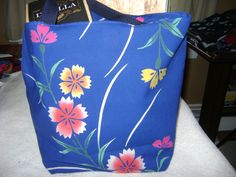 Bright Floral Tote from Repurposed Kimono Cotton Fabric with Inner Pockets and Webbing Handles by KimonoBoro on Etsy