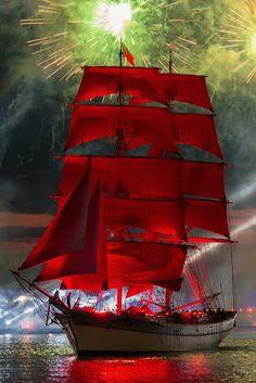 tall ship, red sails, fireworks