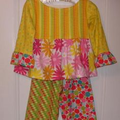 Girls Flouncy Flannel Pajamas Size SMALL by BanannieB for $35.00
