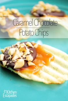 These Caramel Chocolate Covered Potato Chips are no bake - just need a microwave and a couple bowls! They are gluten free