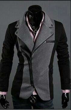 Men's Double-Breasted Zip Front Suit Jacket in Basic Black, Deep ...