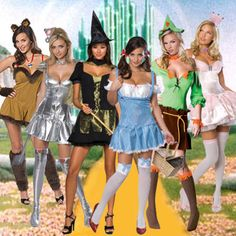 Adult Movie The Wizard of OZ Dorothy Witch Cowardly Lion Tin Scarecrow Costume Group Halloween Costumes For Adults, Team Costumes, Scarecrow Costume, Halloween Costumes For Teens, Girl Costumes, Costume Ideas, Halloween 2016, Costumes For 3 People, Adult Halloween
