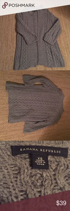 Soft gray sweater Keep warm this season with a beautiful gray sweater. This has 3/4 length sleeves and is absolutely stunning! Material: 40% wool, 25% viscose, 2% nylon, 9% angora,5% cashmere. Banana Republic Sweaters Cardigans
