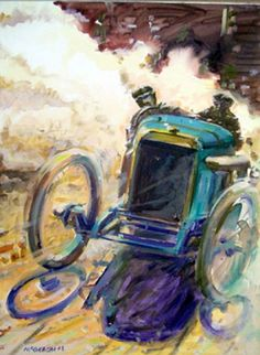 Artist: Andrew McGeachy Dimensions: X X Acrylic On Canvas A vintage Grand Prix racing painting from 1912 featuring the 1912 Peugeot. Auto Peugeot, Vintage Racing, Vintage Cars, Car Posters, Motorcycle Art, Car Drawings, Automotive Art, Car Painting, Sports Art