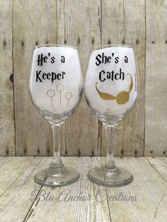 Harry Potter Wine Glass His and Hers Wine by BluAnchorCreations