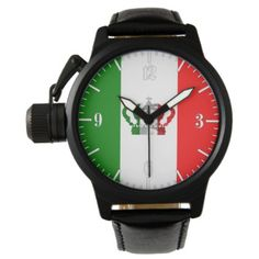 Vintage Crown Italy Italian Italo Flag Wrist Watch - red gifts color style cyo diy personalize unique