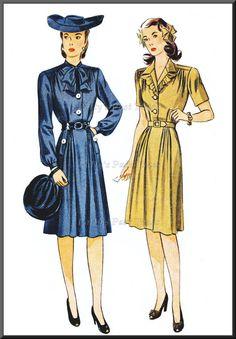 1940s War Time Dress Sewing Pattern Simplicity by PattysPastTimes