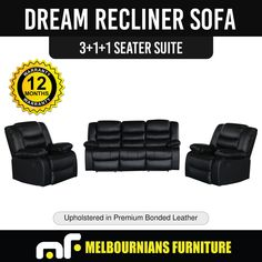 Recliner New Lounge Black Leather Smart Ultra Cushioned Stylish Dream in Home & Garden, Furniture, Sofas & Couches Bonded Leather, Black Leather, Lounge, Reclining Sofa, Recliner, Stylish, Furniture, Airport Lounge
