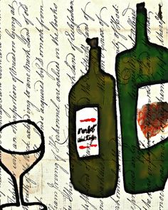 wine glass, wine bottle, wine art, vintage wine, kitchen art, dining room art, rustic home decor