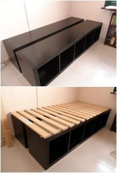 20 Cube Organizer DIY Ideas To De-clutter Your Whole House-Cube Unit Shelf Bed Frame 20 Cube Organizer DIY Ideas To De-clutter Your Whole House: IKEA hacks to redesign cube unit (cube shelf) into new furniture for home decor & organization Diy Storage Bed, Cube Storage, Ikea Bedroom Storage, Creative Storage, Under Bed Storage, Kids Storage, Ikea Cubes, Cube Unit, Cube Organizer