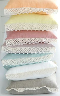 Sew Cute!  Why not add a touch of lace to the pillowcases?